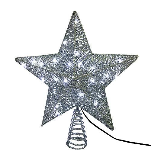 Kurt S. Adler Kurt Adler 45-Light 10-Inch 5-Point LED Silver Star Treetop