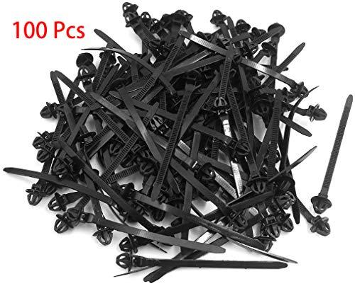 S SYDIEN 100pcs Umbrella Wing Push Mount Car Cable Zip Ties Nylon Tie Wraps,4.76' Length by 0.63' Dia