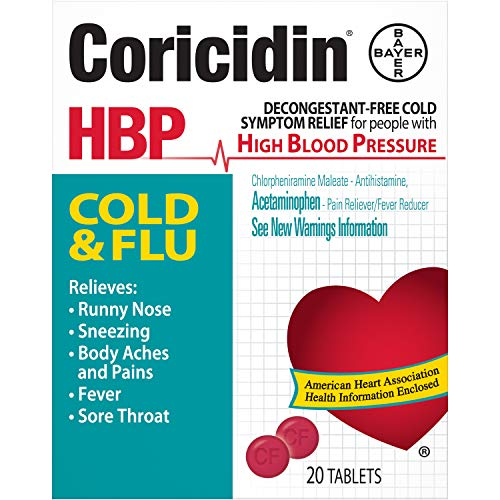 Coricidin HBP Decongestant-Free Cold & Flu Medicine for Hypertensives, Cold & Flu Symptom Relief for People with High Blood Pressure, 325 mg Acetaminophen Tablets (20 Count), Multicolor (533815)