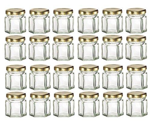 GYBest LJP 24 Pack 1.5 Ounce Hexagon Glass Jars with Gold Plastisol Lined Lids for Jam, Honey, Wedding Favors, Shower Favors, Baby Foods, DIY Magnetic Spice Jars