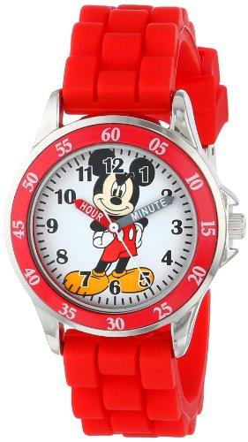 Disney Kids' MK1239 Time Teacher Mickey Mouse Watch with Red Rubber Strap