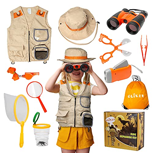 OLIKER Kids Explorer Kit Outdoor Adventure Kit 11 Pcs with Binoculars Flashlight Safari Hat and Safari Vest Magnifying Glass Whistle and Bug Kits for Kids Camping Toy Gift for Boys and Girls