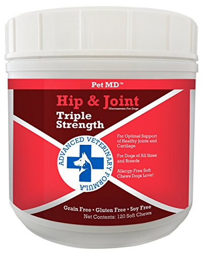 Pet MD Hip and Joint Supplement Glucosamine for Dogs – Triple Strength Allergy Free – 120 Soft Chews