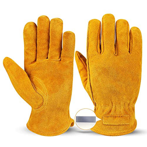 OZERO Leather Work Gloves Flex Grip Tough Cowhide Gardening Glove with a Detachable Magnet for Holding Nails for Car Repairing/Construction/Garden/Yard Working 1 Pair (Gold,Medium)