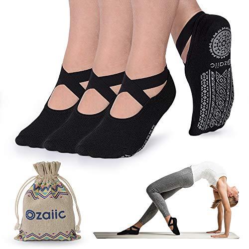 Non Slip Yoga Socks for Pilates Barre Ballet Dance, Anti Skid Hospital Slipper Delivery Socks with Grips for Women
