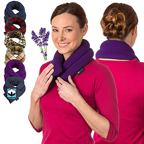 Sunnybay Neck Heating Pad Microwavable - Extra Long Aromatherapy Wrap - Lavender Heating Pads for Neck Pain Relief - Original Hot and Cold Therapy Pads Warmer - Calming Neck Pad Compress (Purple)