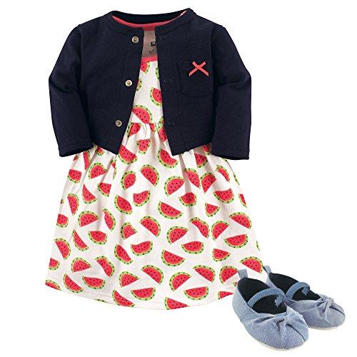 Hudson Baby Girls' Cotton Dress, Cardigan and Shoe Set, Watermelon, 9-12 Months