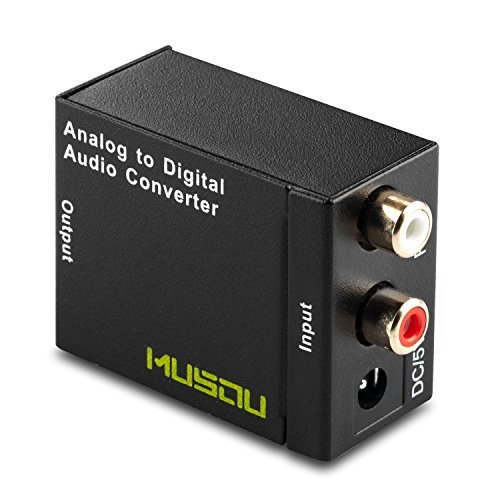 Musou RCA Analog to Digital Optical Toslink Coaxial Audio Converter Adapter with Optical Cable