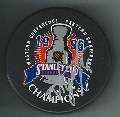 Alexei Gusarov Signed Colorado Avalanche 1996 Stanley Cup Champions Logo Puck - Autographed NHL Pucks