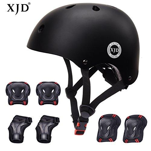 XJD Kids Helmet 3-8 Years Toddler Helmet Boys Girls Sports Protective Gear Set Knee Pad Elbow Pads Wrist Guards Adjustable Roller Bicycle BMX Bike Skateboard Helmets for Kids Black S