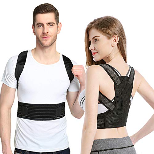 Posture Corrector for Women and Men, Sixport Kyphosis Brace, Adjustable and Comfortable Scoliosis Back Humpback Correction Belt for Students & Children & Adult (Waistline 29-32')