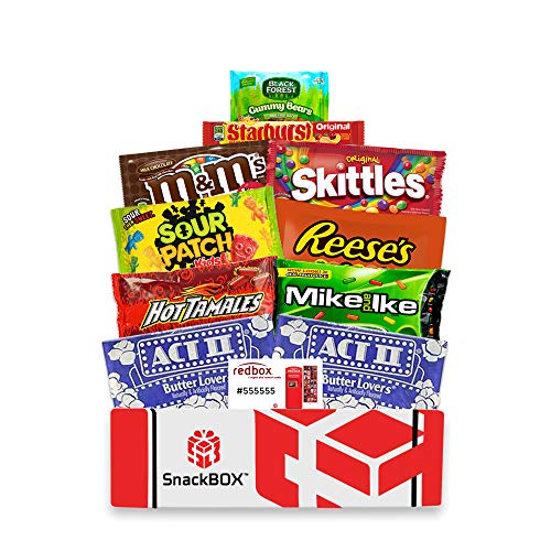 Redbox Movie Night Care Package with Popcorn, Candy and Movie Rental for College Students, Fathers Day, Gift Ideas, Birthday, Corporate Gifts and Finals (10 Items) From Snack Box