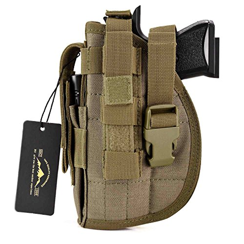 DYJ Left Hand Tactical Pistol/Gun Holster with Magazine Pouch/Pocket for S&W M&P Shield Glock 26 27 29 30 33 42 43(Coyote Brown-Left Hand)
