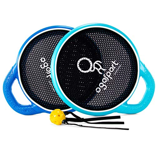 OgoDisk Grip Disc Set with Flux Ball - Outdoor Bouncy Racquet Game for Lawn & Pool - Throw, Toss & Catch with the Racket Disk - Kids & Adults 10+