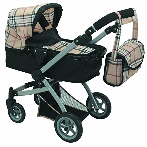 Mommy & Me Babyboo Doll Pram Foldable Doll Stroller with Basket, Convertible Seat, Adjustable Handle, Swiveling Wheels, and Free Carriage Bag (Multi Function) - 9651B Beige Plaid