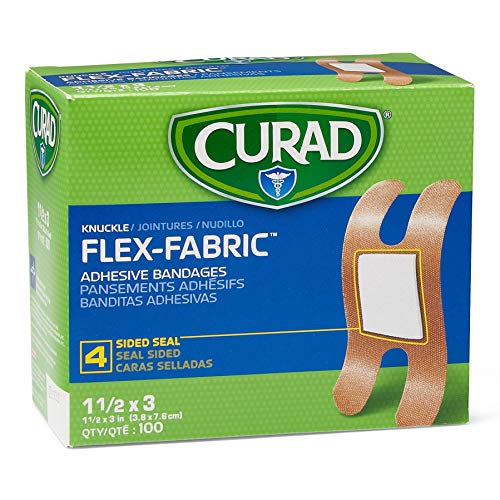 Curad Fabric Adhesive Knuckle Bandages, Finger Bandages for Knuckles (Pack of 100), Natural - NON25510Z