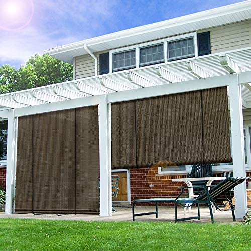 E&K Sunrise Roll up Shade Roller Shade 6'Wx6'H Porch Pergola Privacy Screen Roll up Blinds Sun Shade for Deck Gazebo Patio Back Yard Outdoor Sun Shade Brown