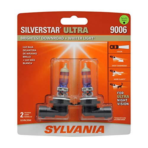 SYLVANIA - 9006 SilverStar Ultra plus Free Installation Gloves - High Performance Halogen Headlight Bulb, High Beam, Low Beam, Fog Replacement Bulb, Brightest Downroad Whiter Light (Contains 2 Bulbs)