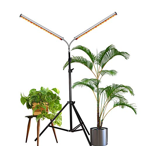 Aceple LED Grow Light, Two Heads Gooseneck 60W Floor Lamp Easy to Use for Growing Indoor, Hydroponic, Houseplants (60W Dual-Head)