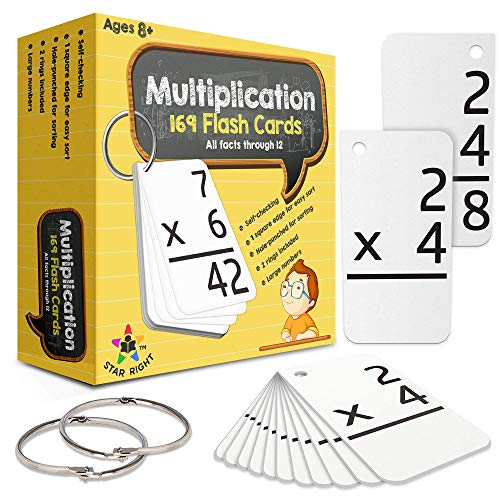 Star Right Multiplication with 2 Metal Binder Rings | 169 Self Checking Flashcards | for Ages 6 and Up