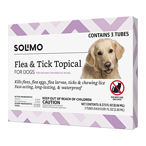 Amazon Brand - Solimo Flea and Tick Topical Treatment for Dogs, For Large Dogs (45-88 pounds), 3 Doses