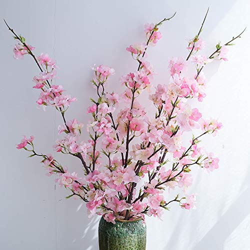 YUYAO Cherry Blossom Artificial Flowers,4pcs Silk Cherry Blossom Branches Tall Fake Peach Cherry Flower Arrangement for Home Wedding Decoration,41inch (Pink)