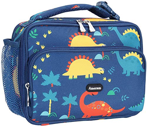 Amersun Kids Lunch Box,Durable Insulated School Lunch Bag with Padded Liner Keeps Food Hot Cold for Long Time,Small Thermal Travel Lunch Cooler for Girls Boys-2 Pockets, Dinosaure