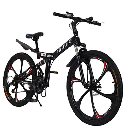【US Shipping】 Outroad Mountain Bike, 21 Speed Bicycle Full Suspension MTB Bikes 26 in Carbon Steel Bicycle Disc Brake Bicycle Folding Bike for Adult Teens(20kg/44lb)