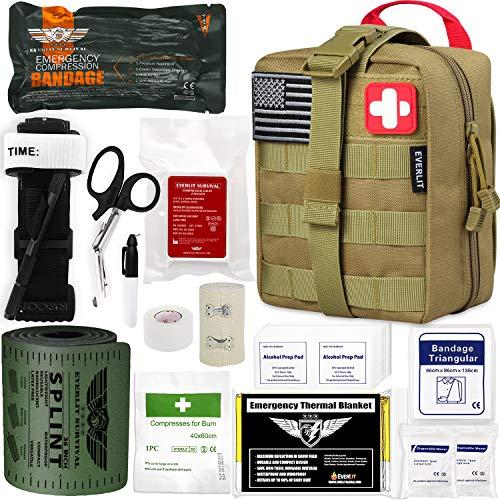 EVERLIT Emergency Trauma Kit GEN-I, Multi-Purpose SOS Everyday Carry IFAK for Wilderness, Trip, Cars, Hiking, Camping, Father's Day Birthday Gift for Him Men Husband Dad Boyfriend (GEN-1 Tan)