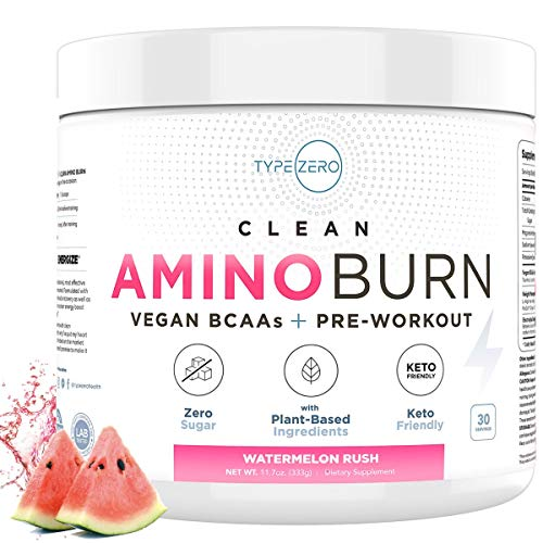 Amino Burn   Clean Vegan BCAA + Pre Workout (6g   Watermelon) Sugar Free BCAAs Amino Acids BCAA Powder + Keto Preworkout for Women Fat Burn/Weight Loss Supplement - Post Workout Recovery Energy Drink