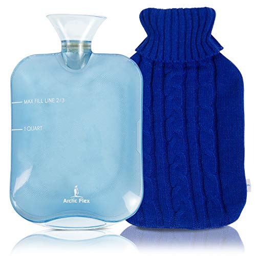 Arctic Flex Hot Water Bottle (XL 2 Liter) - Heat Up Rubber Cold Pack - Cramp Compress with Cover - Portable, Reusable, Reheatable and Transparent Ice Bag - Therapy Heating Pad - Warming Pain Relief
