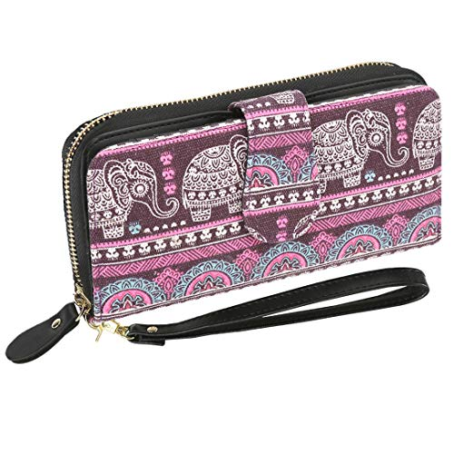 Bohemian Purse Wallet Canvas Elephant Pattern Handbag with Coin Pocket and Strap (Purple, Large)