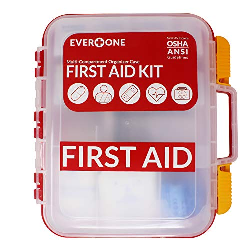 EverOne 354 Piece Hard Case First Aid Kit, Exceeds OSHA and ANSI Guidelines for 100 People, Fully Organized with Wall Mount for Business, Worksite, School, Vehicle and/or Home