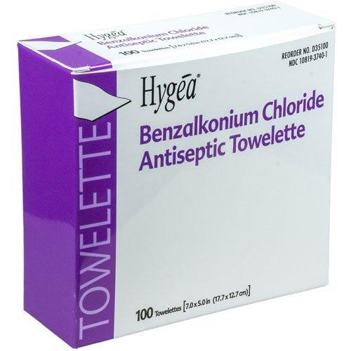 PDI Healthcare D35185 Hygea Benzalkonium Chloride Antiseptic Towelettes, Alcohol Free, 7' x 5-1/2' Size (Case of 2000)