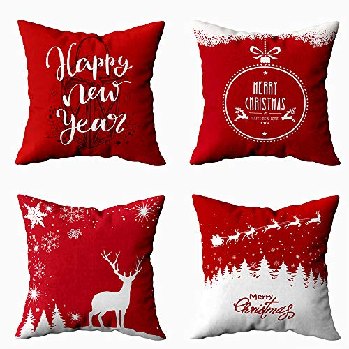 Shorping 4 Pack Xmas Pillows 20X20 Pillow Cover, Christmas Pillow Covers Fall Throw Pillow Covers Xmas Decorations Christmas Ball Merry Snowflakes Background Snow Pillow Covers for Home