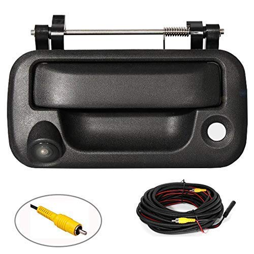 RED WOLF Tailgate Handle with Rear View Backup Camera for 2004-2014 Ford F150, 2008-2016 F-250/F-350/F450/F550 Replacement Reverse Parking Camera Removable Guideline