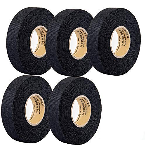 5 Rolls Wire Loom Harness Tape, Wiring Harness Cloth Tape, Wiring Loom Harness Adhesive Cloth Fabric Tap, Adhesive Fabric Tape for Automobile ,Wire harnessing Noise Damping Heat Proof(15 mm x 15 m)
