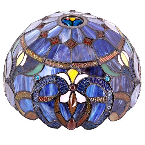 Tiffany Lamp Shade Replacement Only W12H6 Inch Blue Purple Stained Glass Cloud Lampshade 1-5/8-Inch Fitter Opening for Floor Arch Lamp Torchiere Ceiling Fixture Pendant Light S558 WERFACTORY Study