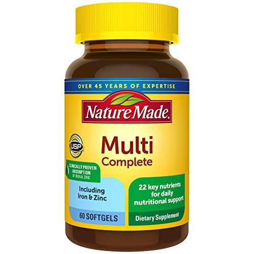 Nature Made Multivitamin Complete Softgels with Vitamin D3 and Iron, 60 Count (Packaging May Vary)