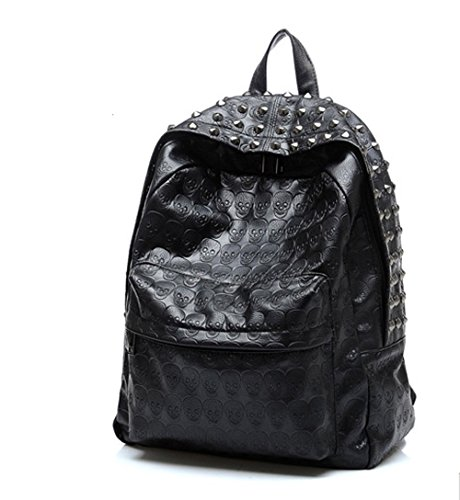 iMaySon Hot Western Gossip Girl Punk Skull PU Leather Women Backpack Shoulders Book Bag