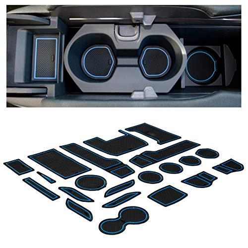 CupHolderHero for Honda Civic Accessories 2016-2020 Premium Custom Interior Non-Slip Anti Dust Cup Holder Inserts, Center Console Liner Mats, Door Pocket Liners 21-pc Set (Hatchback) (Blue Trim)