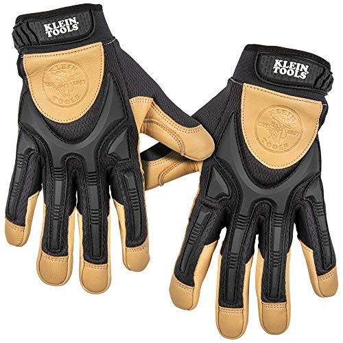 Klein Tools 60189 Work Gloves, Professional Grade Leather Gloves with Knuckle and Finger Protection, Thumb Reinforcement, Mesh Back, X-Large