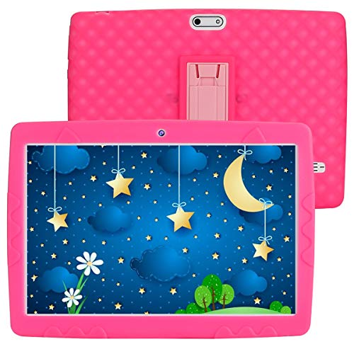 SANNUO 10 inch Kids Tablet,Android 10.0 RAM 3GB ROM 32GB 3G LET Dual SIM Card for Kids Education, Watch Movie and Play Game(Pink)