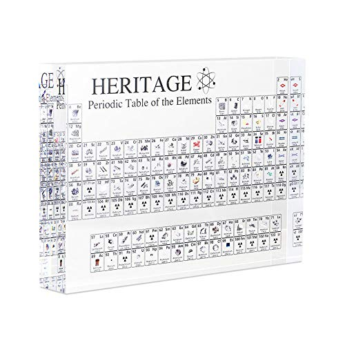 Luxurat Periodic Table of Elements, Acrylic Periodic Table Display with Elements Teacher Students Gifts Crafts Decor