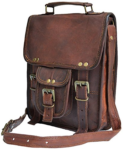 11' small Leather messenger bag shoulder bag cross body vintage messenger bag for women & men satchel man purse compatible with Ipad and tablet