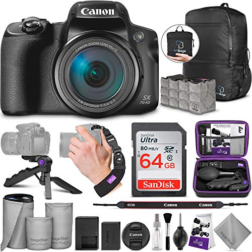 Canon PowerShot SX70 HS Digital Camera with Altura Photo Advanced Accessory and Travel Bundle