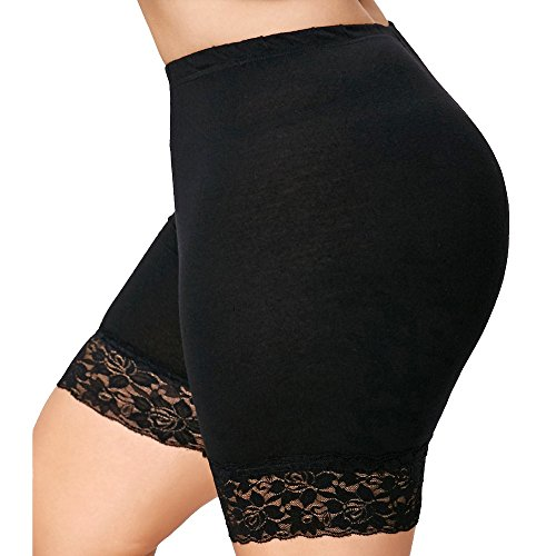 WOCACHI Shorts for Womens, Womens Plus Size Mid Waist Lace Hot Shorts Elastic Sports Pants Trousers Trunks 2020 Summer New Deals High Waist Holidays Vacation Leggings Romper Harem
