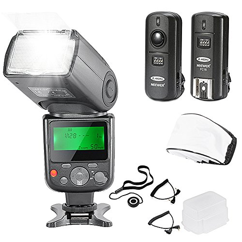 Neewer NW-670 TTL Flash Speedlite with LCD Display Kit for Canon DSLR Cameras,Includes:(1)NW-670 Flash,(1)2.4 GHz Wireless Trigger with C1/C3 Cable,(1)Soft/Hard Diffuser+(1)Lens Cap Holder