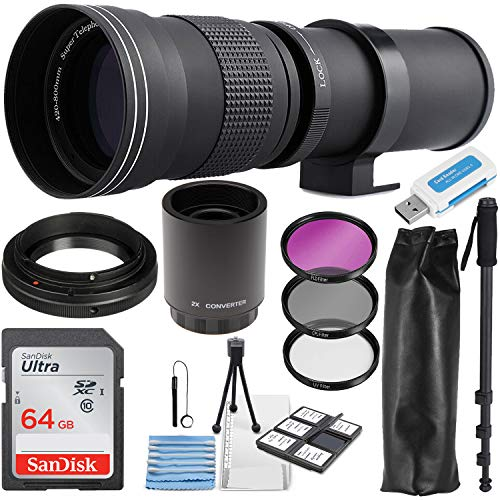 Commander Optics Super 420-800mm / 1600mm (with 2X Teleconverter) f/8 Manual Telephoto Lens Zoom for Canon EOS EF-S DSLR Cameras + Photo Essential Accessory Kit