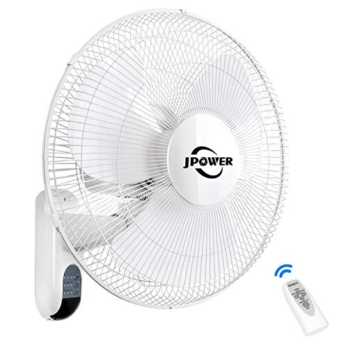 JPOWER 16 Inch Wall Mount Fan With Remote,2400CFM Mountable Oscillating Fan With 3 Speed Settings,AdjustableTilt, Lightning Deal